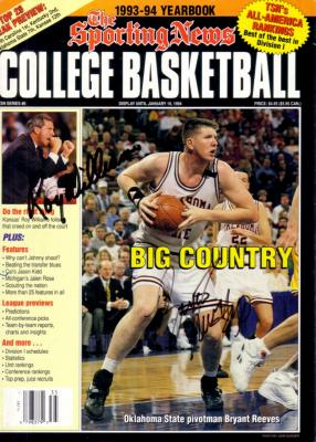 Roy Williams & Bryant Reeves autographed Sporting News College Basketball 1993-94 Yearbook cover