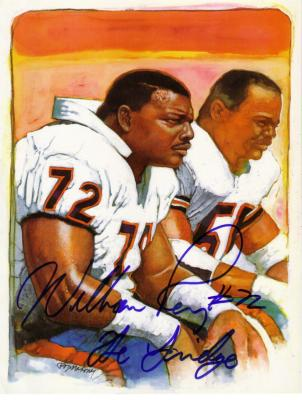 William Perry autographed Chicago Bears 8 1/2 by 11 color artwork print  inscribed The Fridge