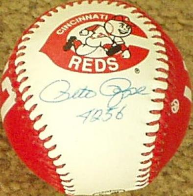 Pete Rose autographed Cincinnati Reds baseball inscribed 4256