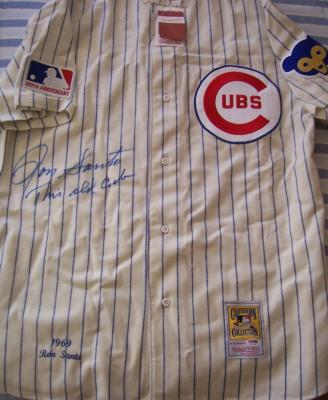 Ron Santo autographed Chicago Cubs 1969 Mitchell & Ness jersey inscribed This Old Cub