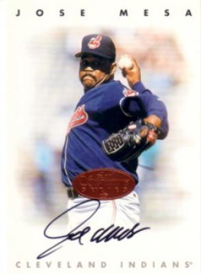 Jose Mesa certified autograph Indians 1996 Leaf Signature card