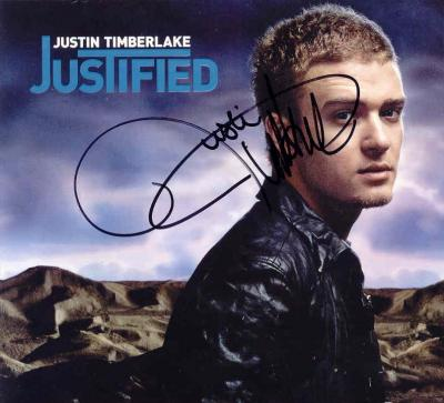 Justin Timberlake autographed Justified CD sleeve