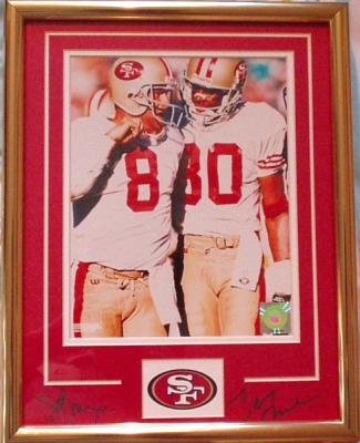 Jerry Rice & Steve Young autographed San Francisco 49ers 11x14 mat framed with 8x10 photo