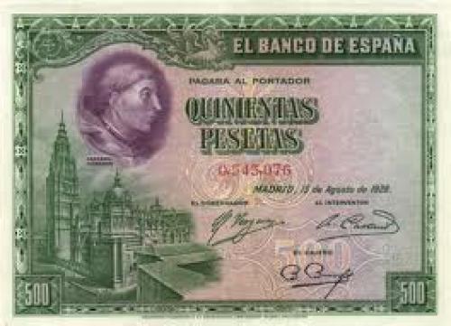 Banknotes, Spain  500 Pesetas; Year 1928
