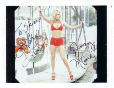 Jenny McCarthy autographed 1996 swimsuit calendar test photo (To Steven)