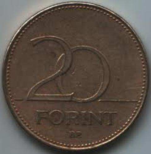 Coins; Hungary 20 Forint 1995; Back image
