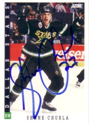 Shane Churla autographed Dallas Stars 1993-94 Score card