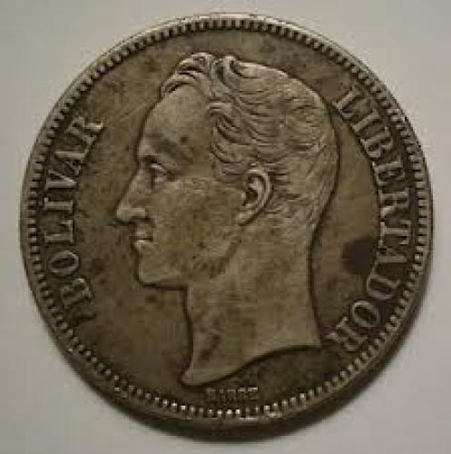 Coins; 1936 Venezuela 5 Bolivares Silver Coin
