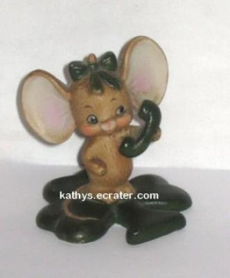 Lefton China Shamrock Mouse on Phone Animal Figurine