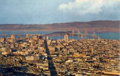 San Francisco Bay Bridge 1960s postcard