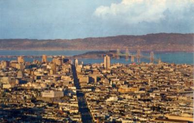 San Francisco Bay Bridge 1960s postcard