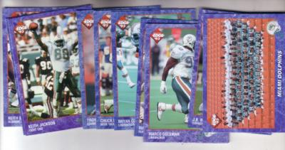 1993 Miami Dolphins Edge team card set (Dan Marino O.J. McDuffie)