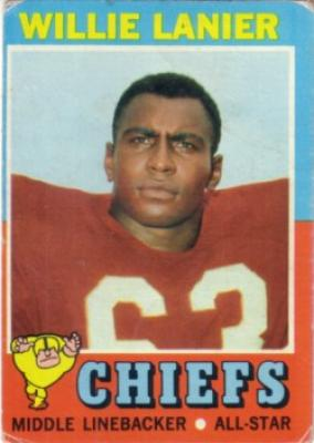Willie Lanier Chiefs 1971 Topps Rookie Card #114 G-VG