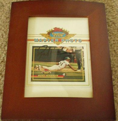 Rickey Henderson autographed Oakland A&#039;s Topps Master Photo framed
