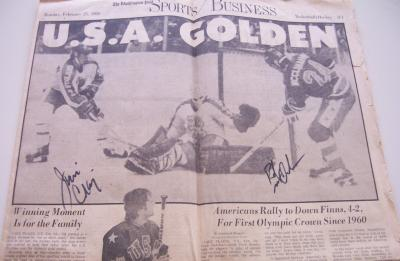 Jim Craig &amp; Rob McClanahan autographed 1980 USA Hockey Miracle on Ice newspaper