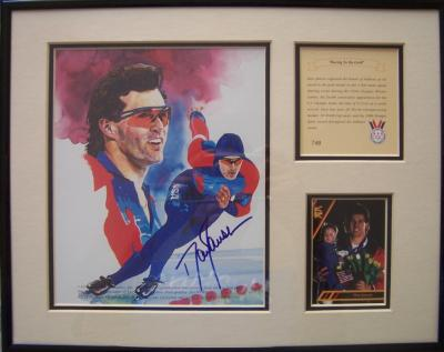 Dan Jansen autographed speed skating 11x14 art print matted &amp; framed