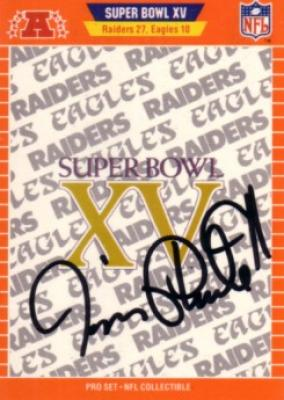 Jim Plunkett autographed Oakland Raiders Super Bowl 15 logo card