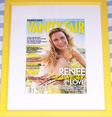 Renee Zellweger autographed Vanity Fair magazine cover matted &amp; framed