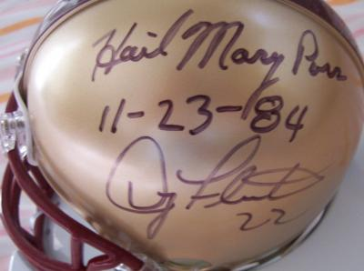 Doug Flutie & Gerard Phelan autographed Boston College mini helmet inscribed Hail Mary