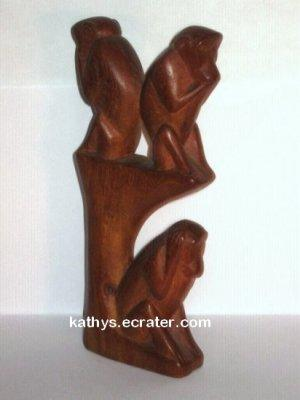 Carved Wood See No Evil Monkeys in a Tree Animal Figurine