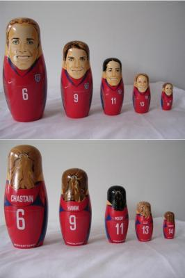 Mia Hamm Brandi Chastain Joy Fawcett Julie Foudy Kristine Lilly nesting dolls set