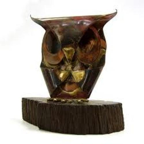 VINTAGE 1970's Small Copper Metal Horned Owl Sculpture on Wood, ...