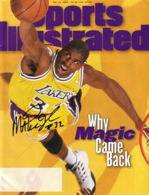 Magic Johnson autographed Los Angeles Lakers 1996 Sports Illustrated