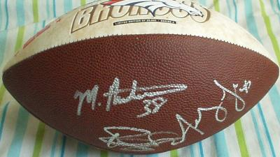 Rod Smith Mike Anderson Steve Beuerlein Ashley Lelie autographed 2003 Denver Broncos football