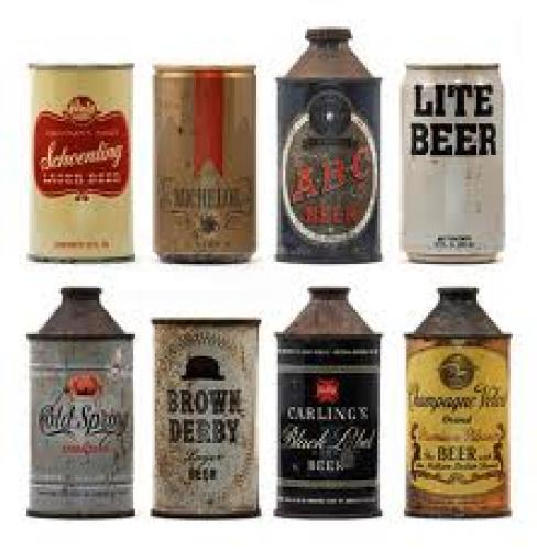 Breweriana; set vintage beer cans featuring the much-maligned