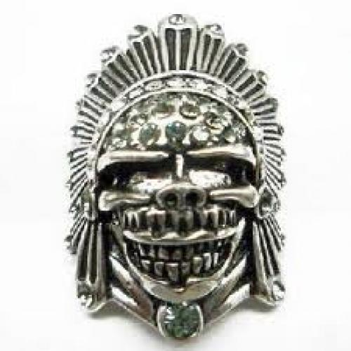 Antique Silver Tribe Chief Pirate Skull Head Ring Decorated With Rhinestones ...