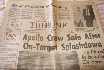 1969 Apollo 11 splashdown San Gabriel Tribune newspaper