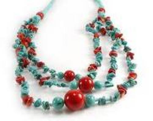 Coral Color Beaded Necklace