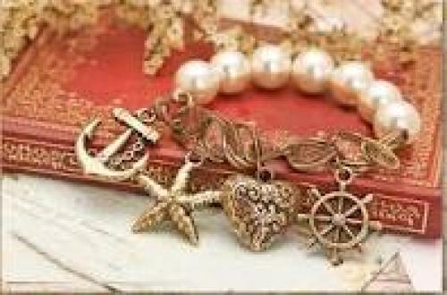 Jewelry; Vintage Heart&Helm&Anchor Pearl Charm Bracelet