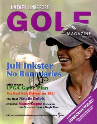 Juli Inkster autographed Ladies Links Fore Golf magazine
