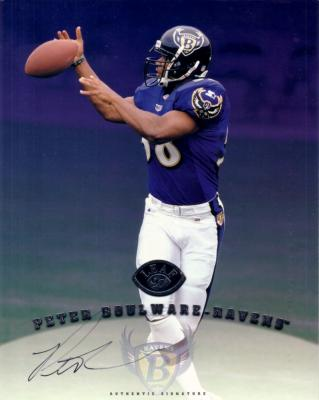 Peter Boulware certified autograph Baltimore Ravens 1997 Leaf 8x10 photo card