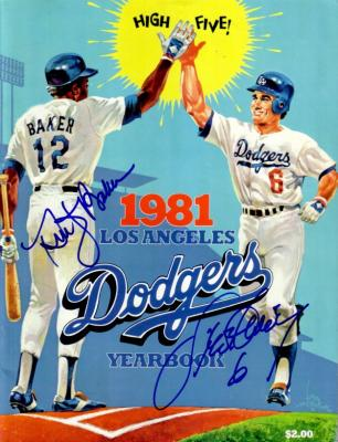 Steve Garvey & Dusty Baker autographed Los Angeles Dodgers 1981 Yearbook