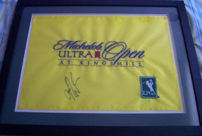Karrie Webb autographed 2006 LPGA Michelob Ultra Open flag matted & framed