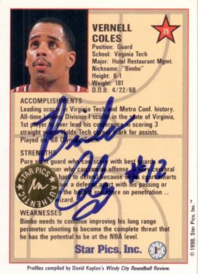 Bimbo Coles certified autograph Virginia Tech 1990 Star Pics card