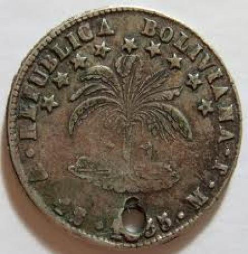 Coins; BOLIVIA, 1855 -HALF DOLLAR SIZED SILVER Coin