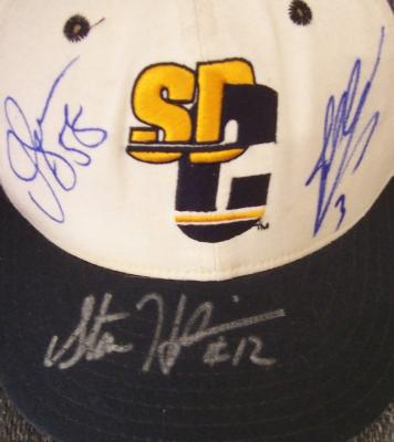 Junior Seau John Carney Stan Humphries autographed San Diego Chargers cap