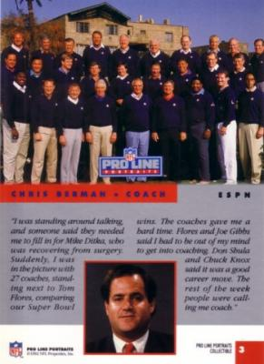 Chris Berman &amp; NFL Coaches 1992 Pro Line Portraits Collectible insert card #3