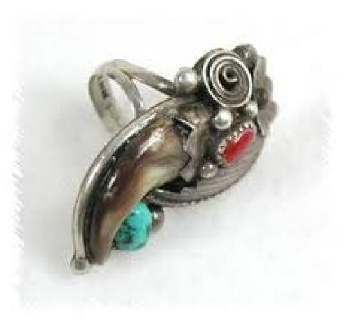 Jewelry; Navajo Bear Claw Ring Vintage Sterling Silver