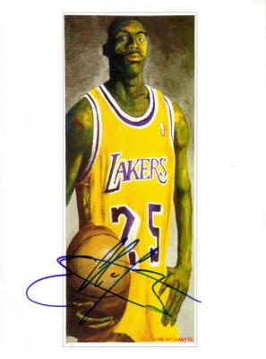 Eddie Jones autographed Los Angeles Lakers art print