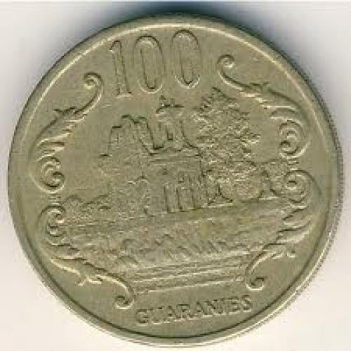 Coins;  Paraguay, 100 guaranies, 1990