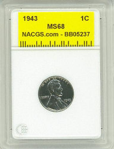 1943 NACGS MS68 STEEL Lincoln Cent