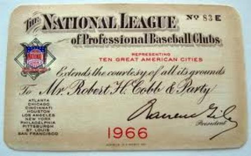 Memorabilia; a cool little one-of-kind memorabilia item from the 1966 Baseball Club