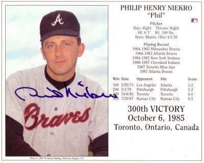 Phil Niekro autographed 300th Win 8x10 photo card