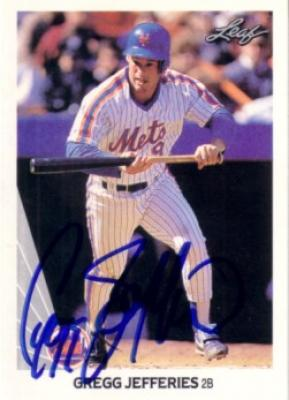 Gregg Jefferies autographed New York Mets 1990 Leaf card