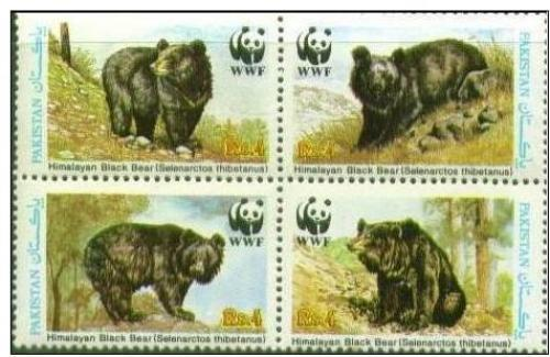 Pakistan. WWF. Himalayan black bears. MNH 