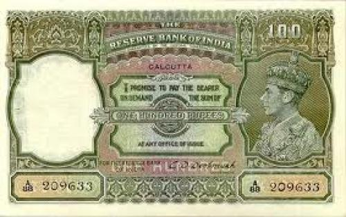 Banknotes; INDIA 100 Rupees &quot;Lahore&quot; and &quot;calcutta&quot;issue extremely rare 